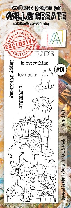 AALL & Create - Clear Stamp Border - Set #121 Purrfect Gift