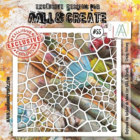 "AALL & Create - Plastic Stencil - #55 Crazy Paving (6""x6"")"