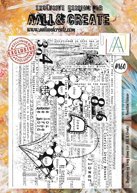 AALL & Create - Clear Stamp A4 size - Set #160 Pencilled Flower