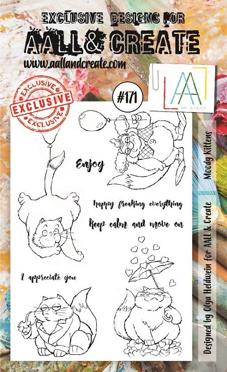 AALL & Create - Clear Stamp A6 size - Set #171 Moody Kittens