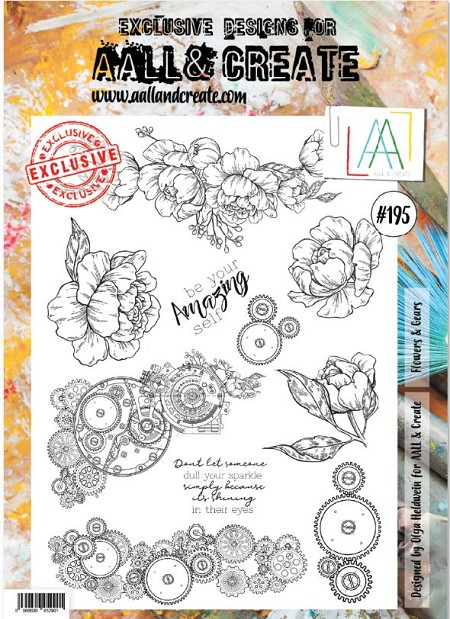 AALL & Create - Clear Stamp A4 size - Set #195 Flowers & Gears