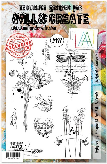 AALL & Create - Clear Stamp A5 size - Set #197 Scripted Botanicals
