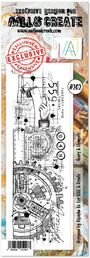 AALL & Create - Clear Stamp Border - Set #202 Gears & Elements