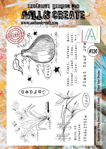 AALL & Create - Clear Stamp A4 size - Set #320 Plant Your Dreams