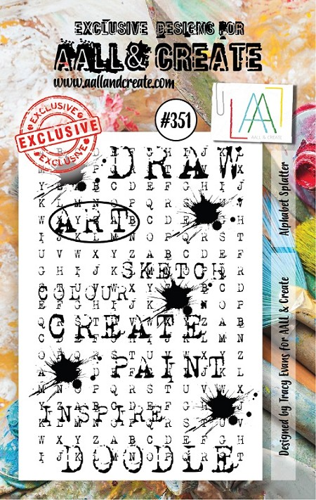 AALL & Create - Clear Stamp A7 size - Set #351 Alphabet Splatter