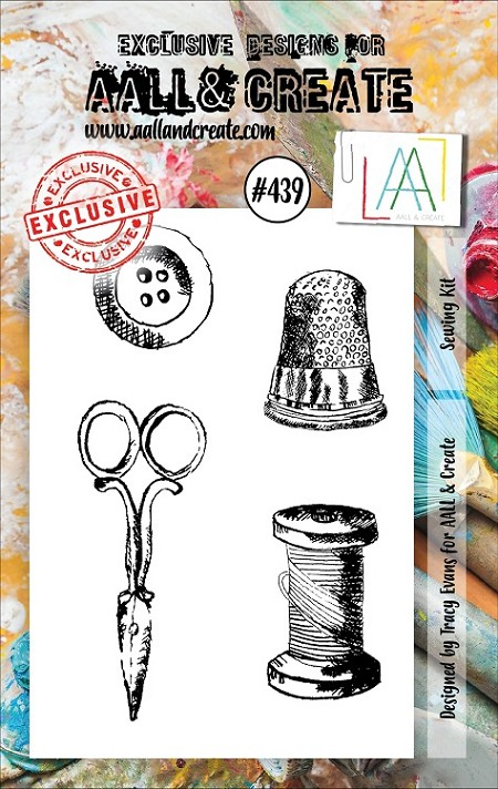AALL & Create - Clear Stamp A7 size - Set #439 Sewing Kit