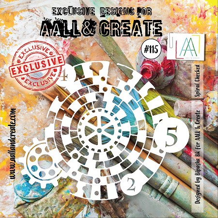 "AALL & Create - Plastic Stencil - #115 Spiral Checkered (6""x6"")"