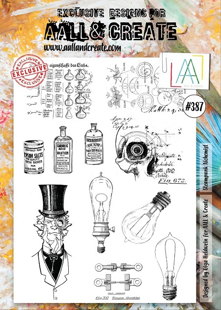 AALL & Create - Clear Stamp A4 size - Set #387 Steampunk Alchemist