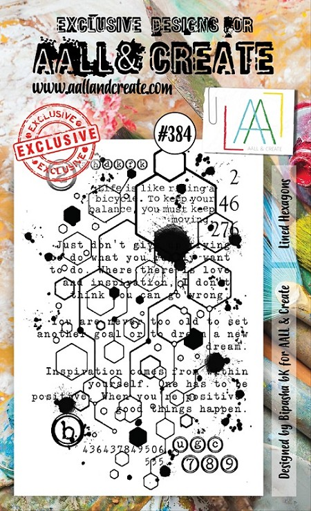 AALL & Create - Clear Stamp A6 size - Set #384 Lined Hexagon