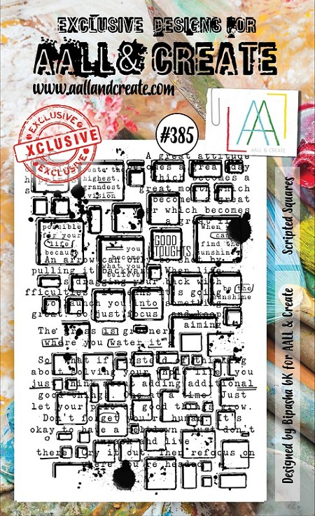 AALL & Create - Clear Stamp A6 size - Set #385 Scripted Squares