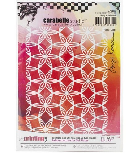 Carabelle Studio - Unmounted Art Printing Stamp - A6 Floral Grid