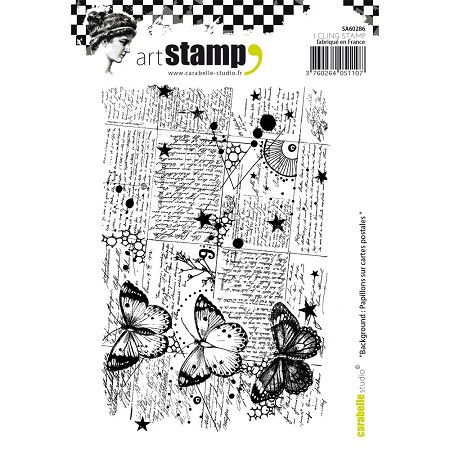 Carabelle Studio - Cling Stamp Set - Papillons sur Carte Postale (Butterflies on Postcards)
