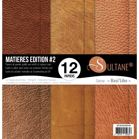 Carabelle Studio - 12x12 Paper Pack - Matières Edition #2 (Leather background prints)