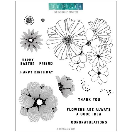 Concord & 9th - Clear Stamp - Fine Line Florals