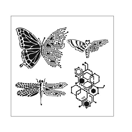 "The Crafter's Workshop 6""x6"" Stencil - Nature's Circuitry"