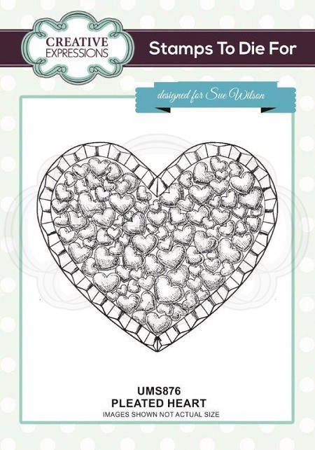 Sue Wilson Designs - Cling Mounted Stamp - Pleated Heart