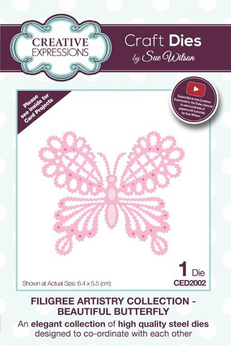 Sue Wilson Designs - Die - Filigree Artistry Collection - Beautiful Butterfly