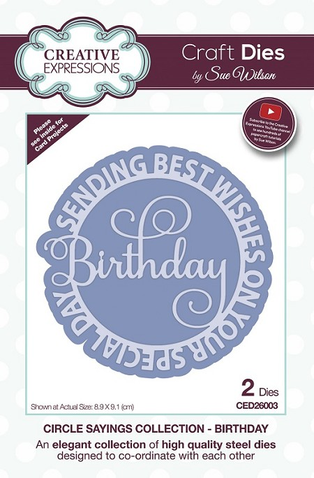 Sue Wilson Designs - Die - Circle Sayings Collection - Birthday