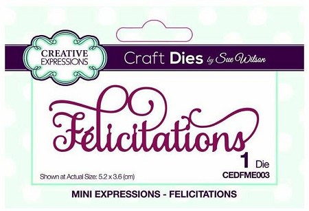 Sue Wilson Designs - French Mini Expressions Die - Félicitations (Congratulations)