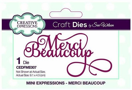 Sue Wilson Designs - French Mini Expressions Die - Merci Beaucoup (Thank you Very Much)