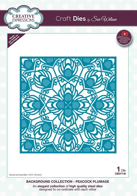 Sue Wilson Designs - Die - Background Collection - Peacock Plumage