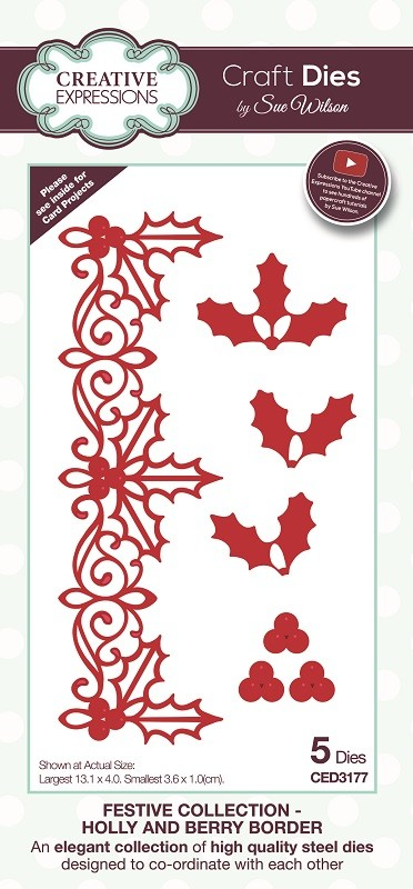 Sue Wilson Designs - Die - Festive Collection Holly and Berry Border Craft Die