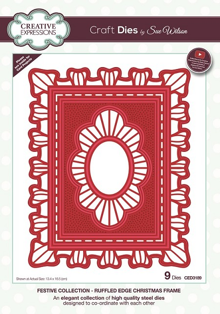 Sue Wilson Designs - Die - Festive Collection Ruffled Edge Christmas Frame