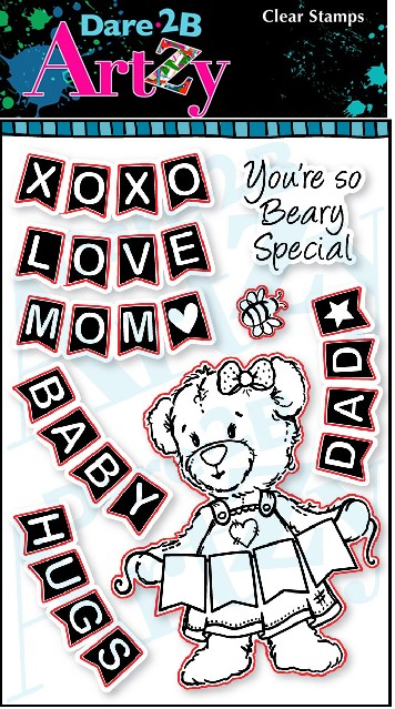 Dare 2B Artzy - Clear Stamp - Bear Banner