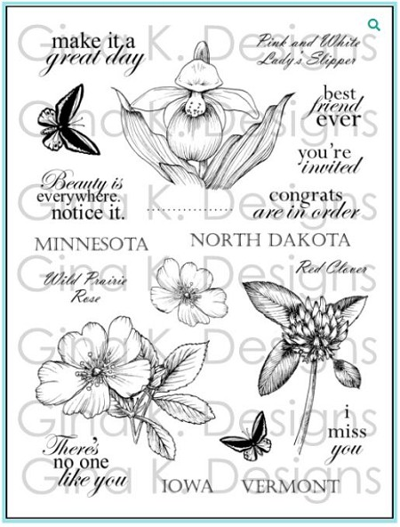 Gina K Designs - Clear Stamp - Stately Flowers 7