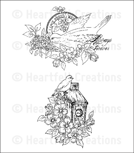 Heartfelt Creations - Birds and Blooms Collection - Cling Stamps - Home Sweet Home