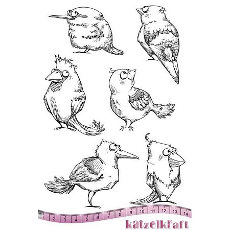 "Katzelkraft - A5 Unmounted Rubber Stamp Sheet - Les Piafs (Birds) (5.5"" x 8.5"")"