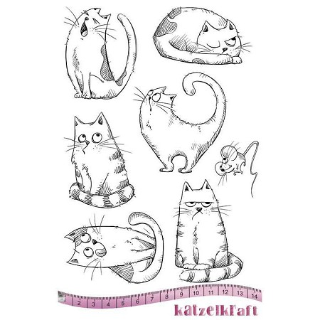 "Katzelkraft - A5 Unmounted Rubber Stamp Sheet - Les Chats Russes (Russian Cats) (5.5"" x 8.5"")"