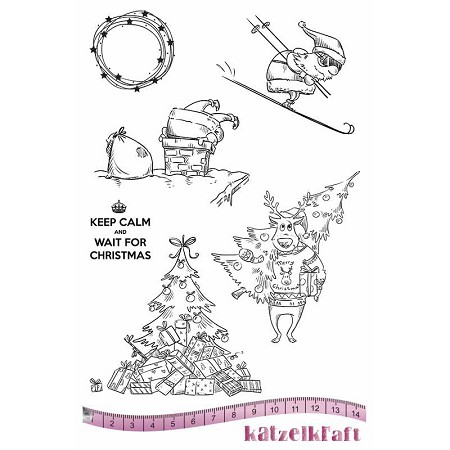 "Katzelkraft - A5 Unmounted Rubber Stamp Sheet - Noel Keep Calm (5.5"" x 8.5"")"
