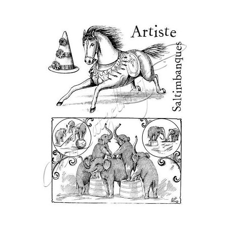 "Katzelkraft - A6 Unmounted Rubber Stamp Sheet - Cirque 02 (4.25"" x 5.5"")"