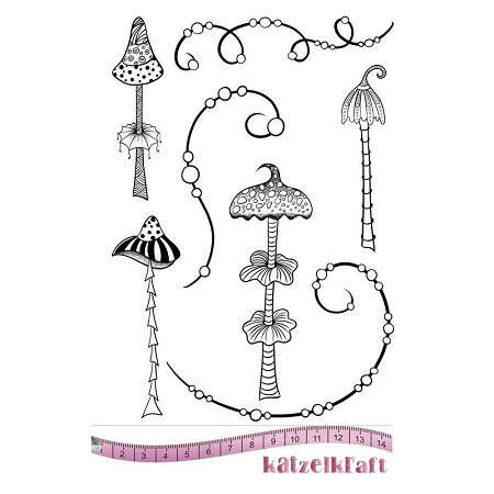 "Katzelkraft - A5 Unmounted Rubber Stamp Sheet - Whimsy Mushrooms (5.5"" x 8"")"