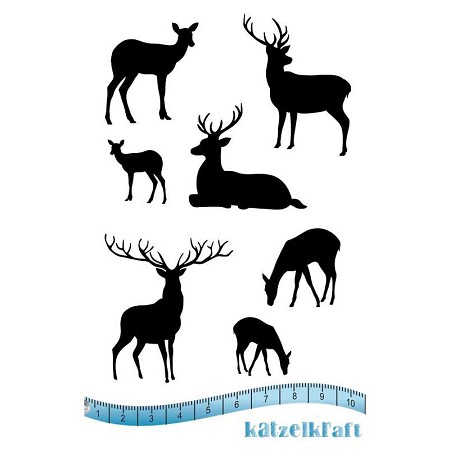 "Katzelkraft - Unmounted Rubber Stamp - Mini Reindeers (3.75"" x 5.25"")"