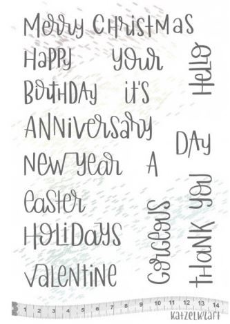 "Katzelkraft - A5 Unmounted Rubber Stamp Sheet - Holidays Quotes (5.5"" x 8"")"