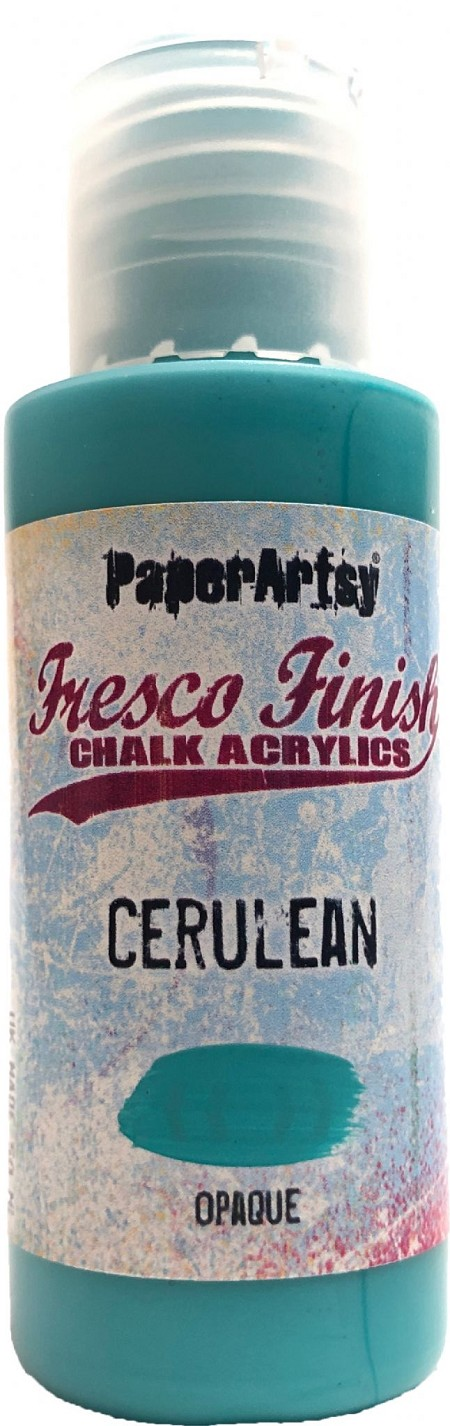 Paper Artsy - Fresco Finish Acrylic Paints - 50ml Bottle - Cerulean (semi-opaque)
