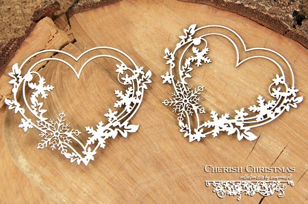 Scrapiniec Chipboard - Cherish Christmas 2 Hearts