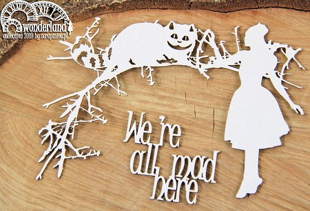 Scrapiniec Chipboard - Wonderland We're All Mad Here