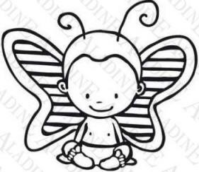 Aladine Wood Stamp - Butterfly Boy