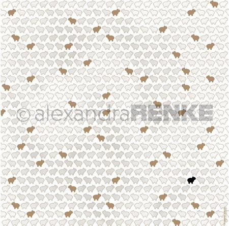 "Alexandra Renke - 12""x12"" Cardstock - Little Lamb White/Gold"