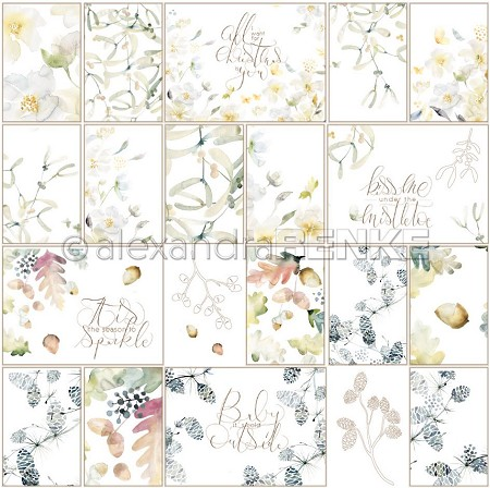 "Alexandra Renke - Card Sheet Christmas Floral Natural - 12""x12"" Cardstock"