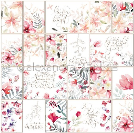 "Alexandra Renke - Card Sheet Christmas Floral Red - 12""x12"" Cardstock"