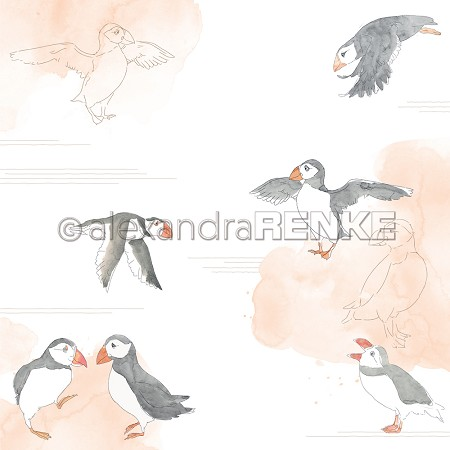 "Alexandra Renke - 12""x12"" Cardstock - Puffins on watercolour"