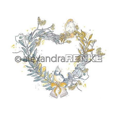 "Alexandra Renke - 12""x12"" Cardstock - Floral Christmas yellow heart wreath with birds"