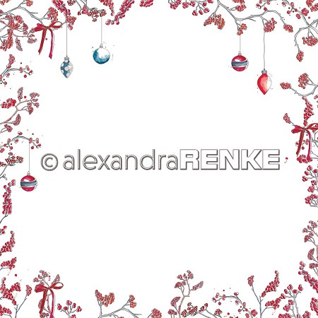 "Alexandra Renke - 12""x12"" Cardstock - Floral Christmas berry branches layout frame red"