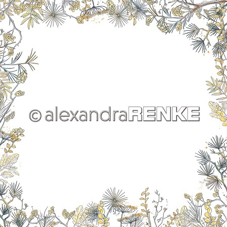 "Alexandra Renke - 12""x12"" Cardstock - Floral Christmas floral layout frame yellow"