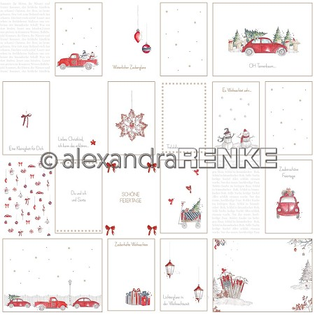 "Alexandra Renke - 12""x12"" Cardstock - Floral Christmas card sheet red cars"