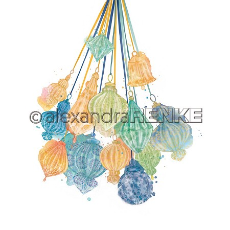 "Alexandra Renke - 12""x12"" Cardstock - Hanging Baubles green yellow blue"